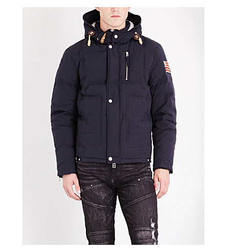 TRUE RELIGION Hooded cotton-blend jacket (Dark+blue