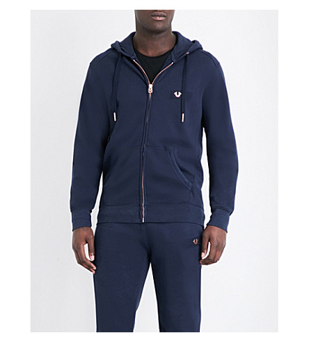 TRUE RELIGION Horseshoe cotton-jersey hoody (Solid+navy
