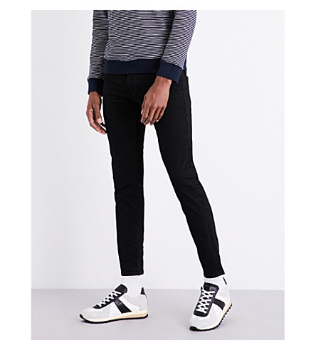 TRUE RELIGION Tony skinny mid-rise jeans (Midnight+black
