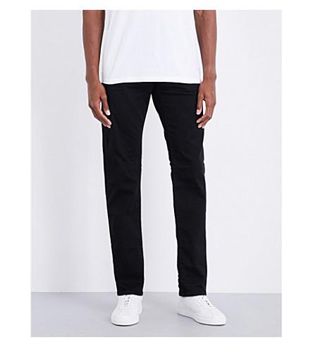 TRUE RELIGION Geno slim-fit straight mid-rise jeans (Midnight+black
