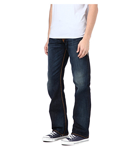 TRUE RELIGION Ricky Super T regular-fit straight jeans (Grey