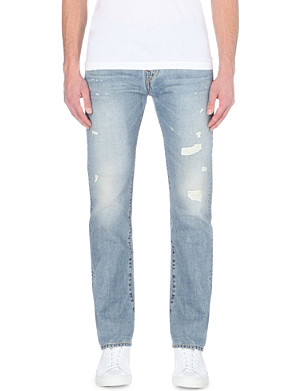 TRUE RELIGION Kurt distressed slim-fit tapered jeans