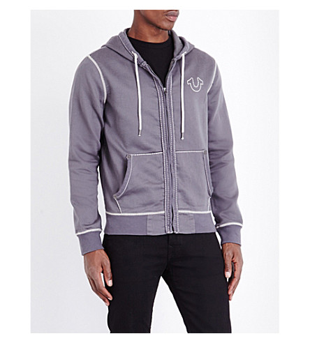 TRUE RELIGION Contrast-stitch jersey hoody (Pavement