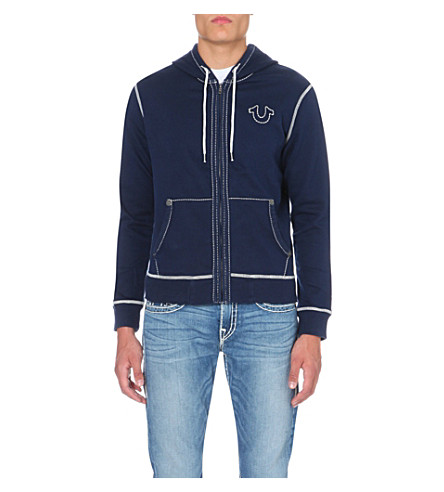 TRUE RELIGION Stitching-detail jersey hoody (Navy