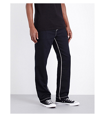 TRUE RELIGION Contrast stitch cotton-jersey jogging bottoms (Black
