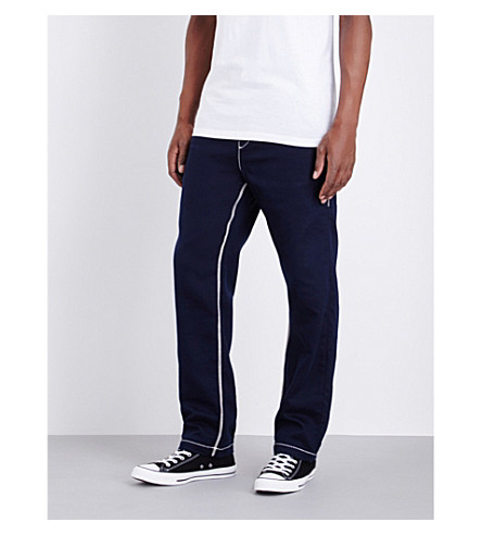 TRUE RELIGION Contrast-stitch jersey jogging bottoms (Navy