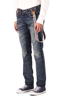 TRUE RELIGION Vintage denim jeans with braces