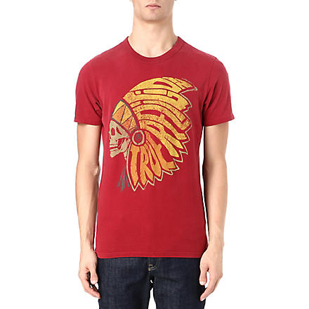 TRUE RELIGION Native American headdress t-shirt (Crimson