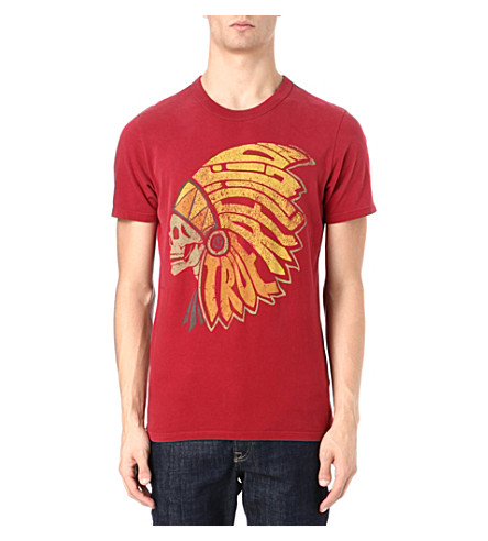 TRUE RELIGION Native American headdress t-shirt (Crimson