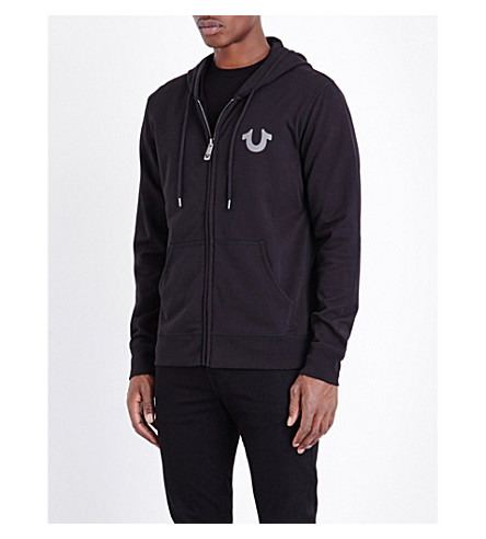 TRUE RELIGION Branded cotton-jersey hoody (Jet+black