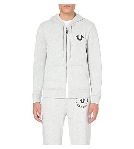 TRUE RELIGION Branded cotton-jersey hoody (Heather+grey