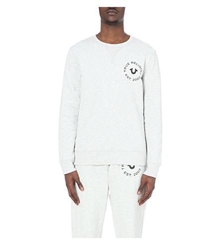 TRUE RELIGION Logo-print cotton-jersey sweatshirt (Heather+grey