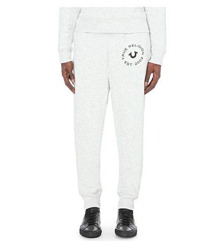TRUE RELIGION Marl-print cotton-jersey jogging bottoms (Heather+grey