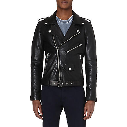BLK DNM Slim-fit leather biker jacket (Black