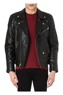 BLK DNM Padded detail leather biker jacket