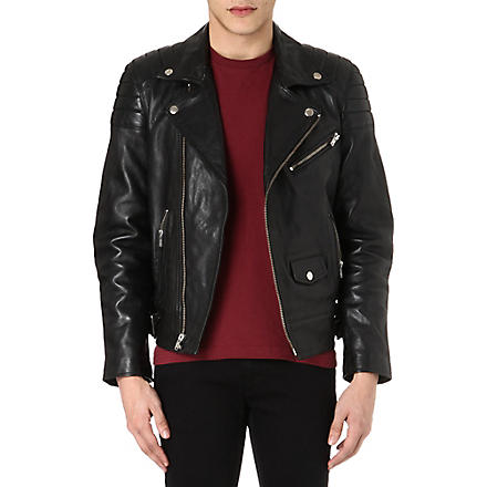 BLK DNM Padded detail leather biker jacket (Black