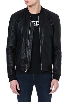 BLK DNM Fitted leather bomber jacket