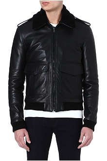 BLK DNM Leather jacket with shearling collar