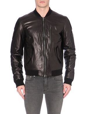 BLK DNM Down-filled leather bomber jacket