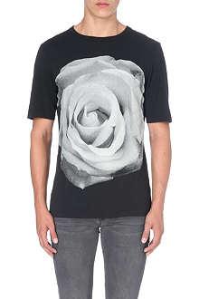 BLK DNM Rose-print cotton-jersey t-shirt