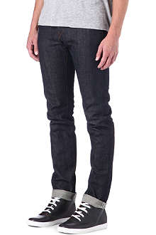 3X1 13oz green caste selvedge slim-fit tapered jeans