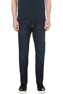 EVISU Slim-fit tapered mid-rise denim jeans