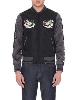 EVISU Dragon-embroidered satin jacket