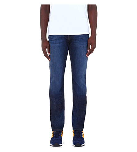 J BRAND Straight mid-rise stretch-denim jeans (Blue