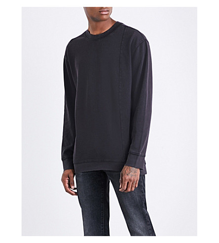 CHEAP MONDAY Default panelled cotton-jersey sweatshirt (Black+used+wash