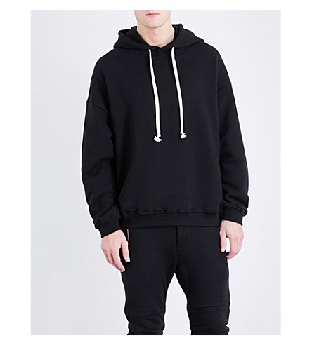 REPRESENT Exposed-seam cotton-jersey hoody (Black