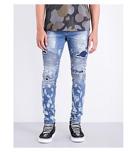 REPRESENT Biker skinny mid-rise jeans (Heavy+bleach