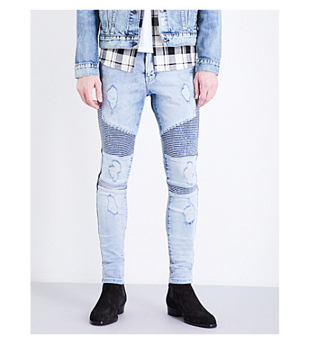 REPRESENT Biker skinny stretch-denim jeans (Acid+blue