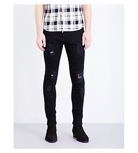 REPRESENT Biker skinny stretch-denim jeans (Black