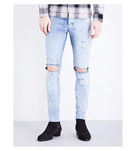 REPRESENT Destroyer skinny stretch-denim jeans (Acid+blue