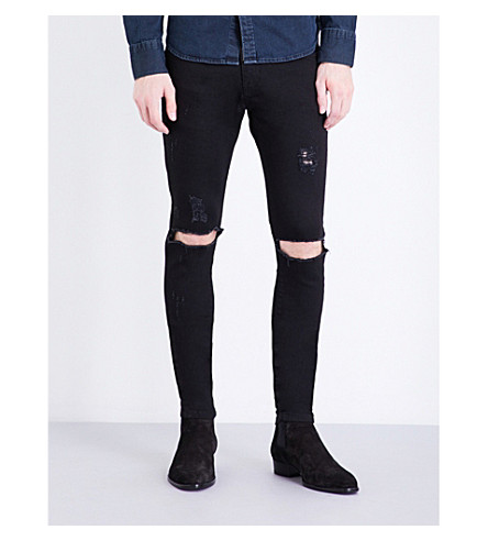 REPRESENT Destroyer skinny stretch-denim jeans (Black