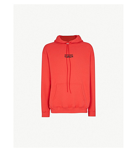 REPRESENT Flag-print cotton-jersey hoody (Red