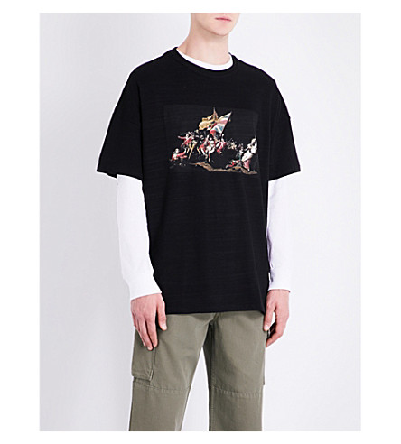 REPRESENT Battle printed cotton-jersey T-shirt (Black