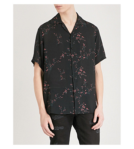 REPRESENT Floral-print relaxed-fit woven shirt (Black