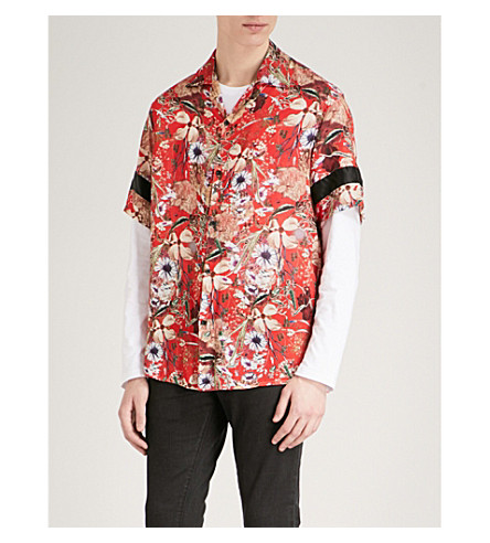 REPRESENT Floral-print regular-fit woven shirt (Red
