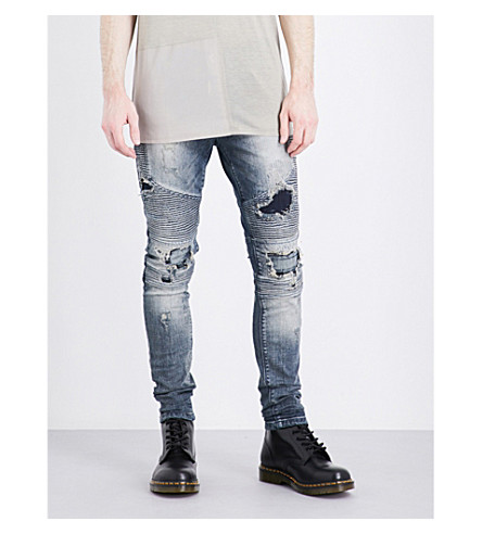 REPRESENT Biker slim-fit skinny jeans (Sand+blast