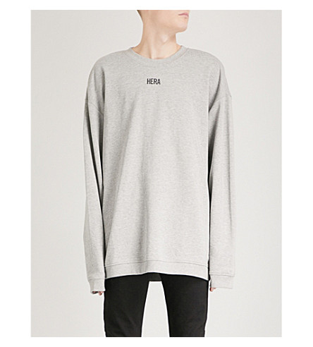 HERA Logo-print cotton-jersey sweatshirt (Grey