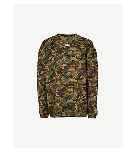 HERA Logo-print cotton-jersey sweatshirt (Woodland+camo