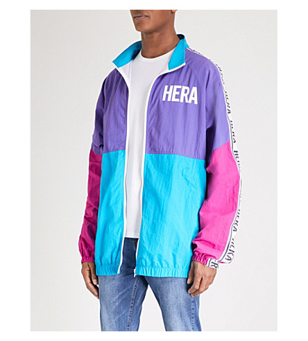 HERA Retro printed panelled shell jacket (Hot+pink/purple/blue