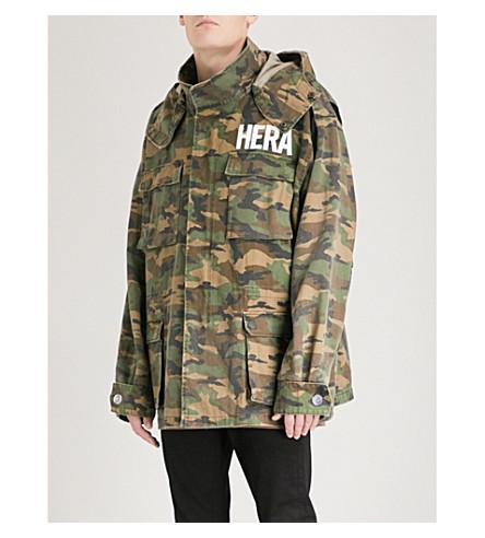 HERA Oversized cotton field jacket (Woodland+camo