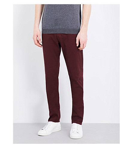AG JEANS Nomad skinny stretch-denim jeans (Burgundy