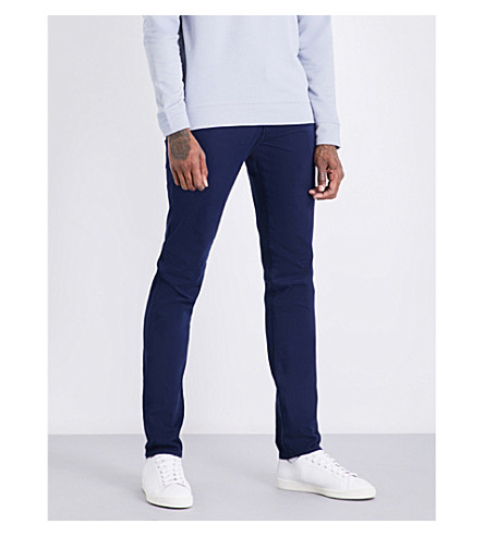 AG JEANS Tellis slim-fit tapered stretch-cotton trousers (Blue