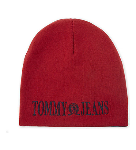 TOMMY JEANS Flag cotton-blend beanie hat (Salsa-peacoat
