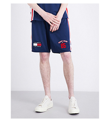 TOMMY JEANS Embroidered relaxed-fit mesh shorts (Medieval+blue