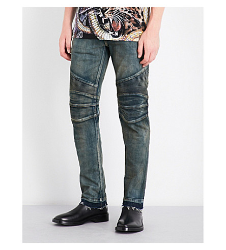 BALMAIN Biker distressed regular-fit mid-rise jeans (Blue