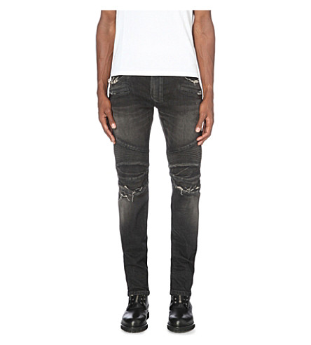 BALMAIN Biker distressed slim-fit skinny jeans (Black